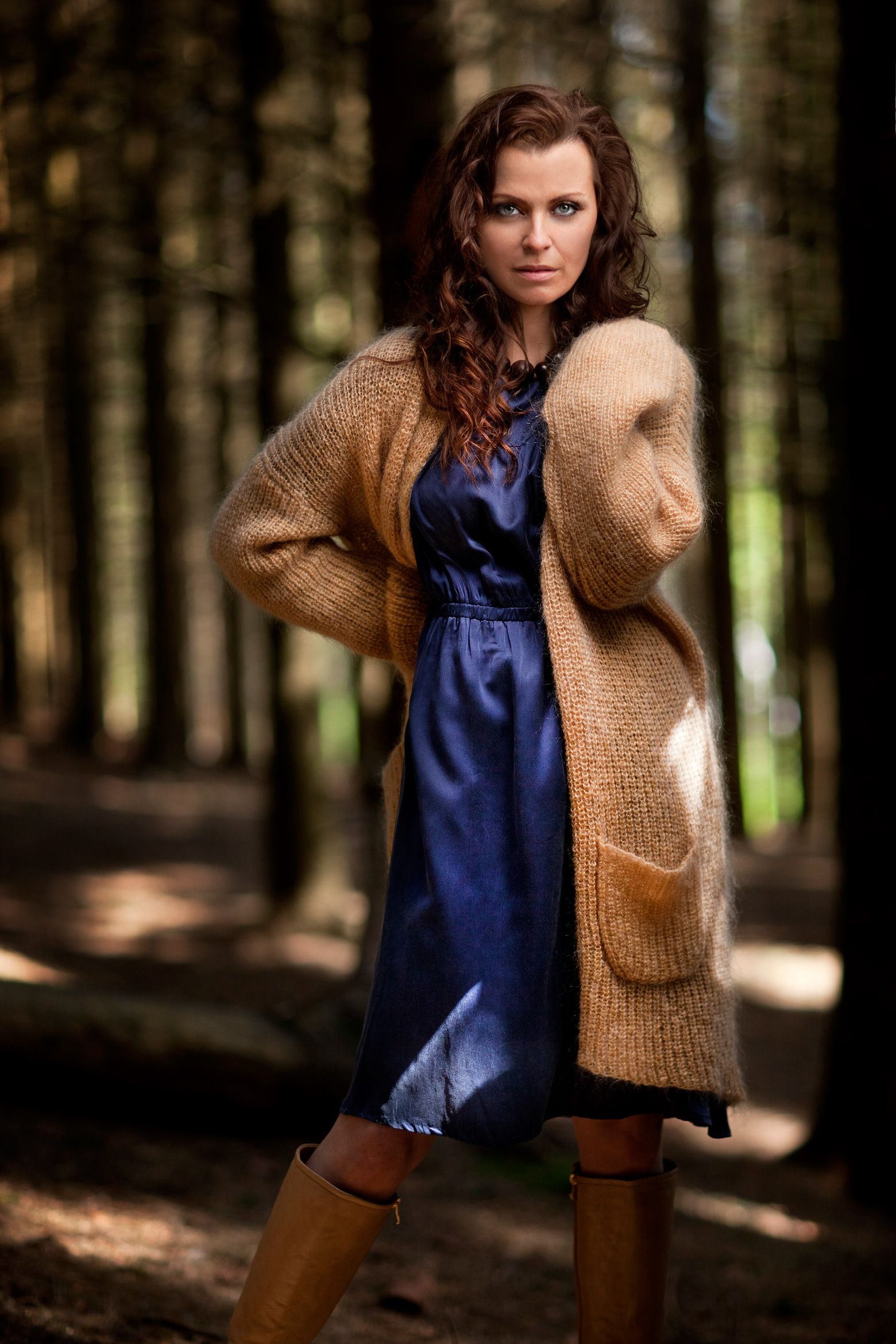 silkdress, midnight blue, mohair cardigan, oversized, knit, honey, fashion , design,  photo: haakon nordvik