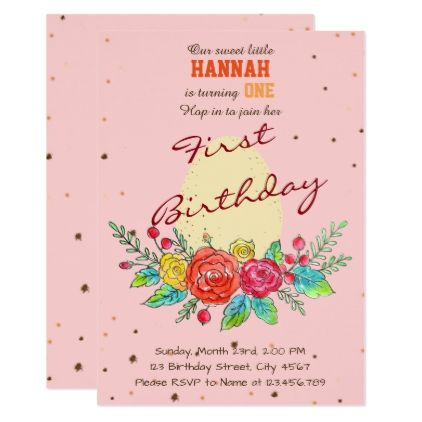 Egg Easter Spring Baby Girl First Birthday Invitation Baby Gifts
