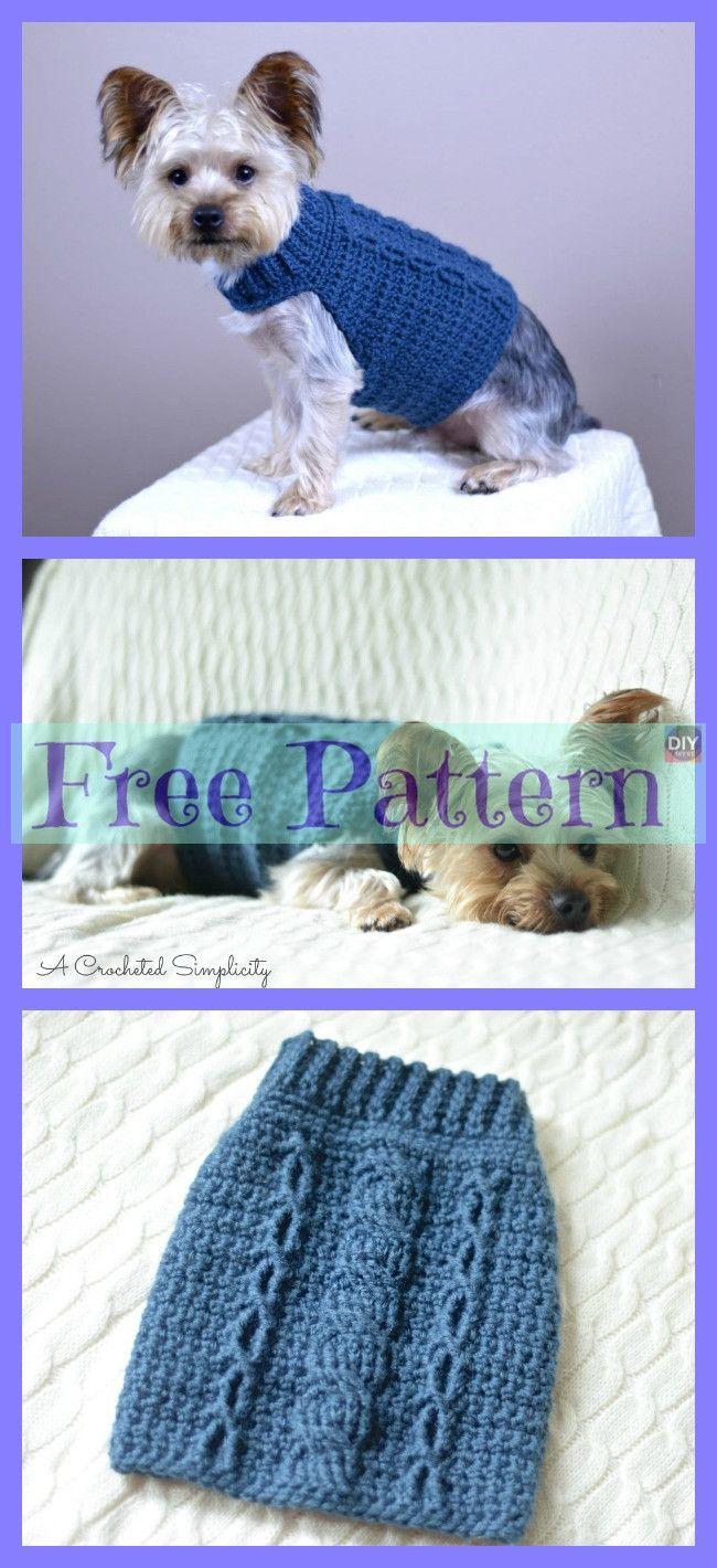 10 Cozy Crocheted Dog Sweater Free Patterns #dogcrochetedsweaters