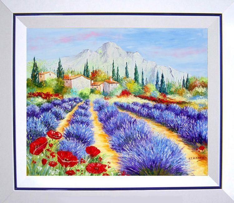 Tableau Peinture Tableaux De Provence Lavandes Coquelicot Paysage