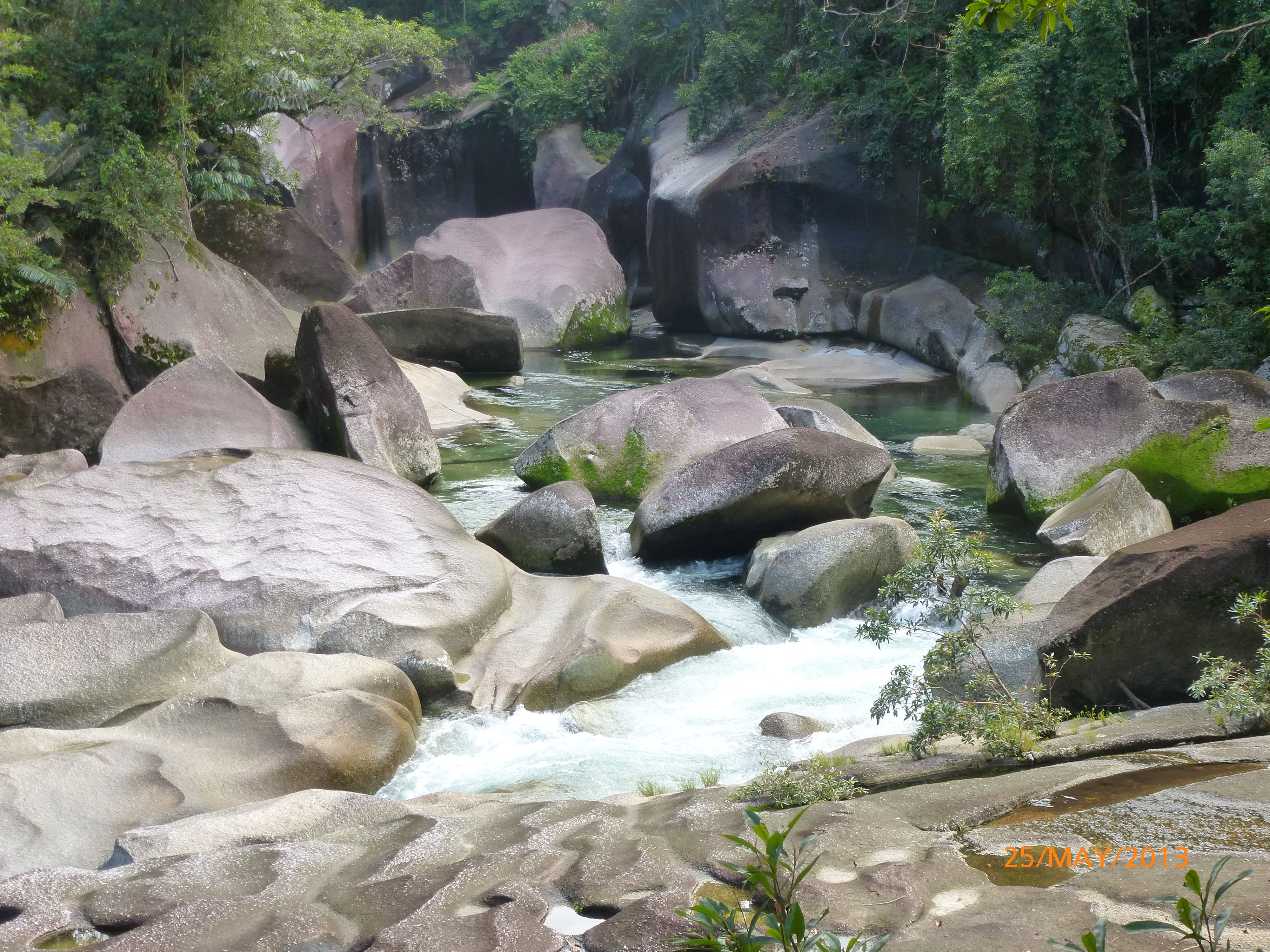 Series of Rock Pools along a river in the Daintree Rainforest