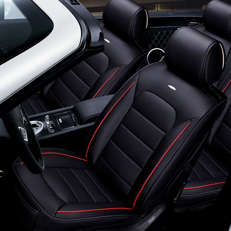 for Acura 5-Seats Car Interior seat Four Seasons Universal Breathable Full Set Car Seat Cover(Airbag Compatible) Luxury Black and Red