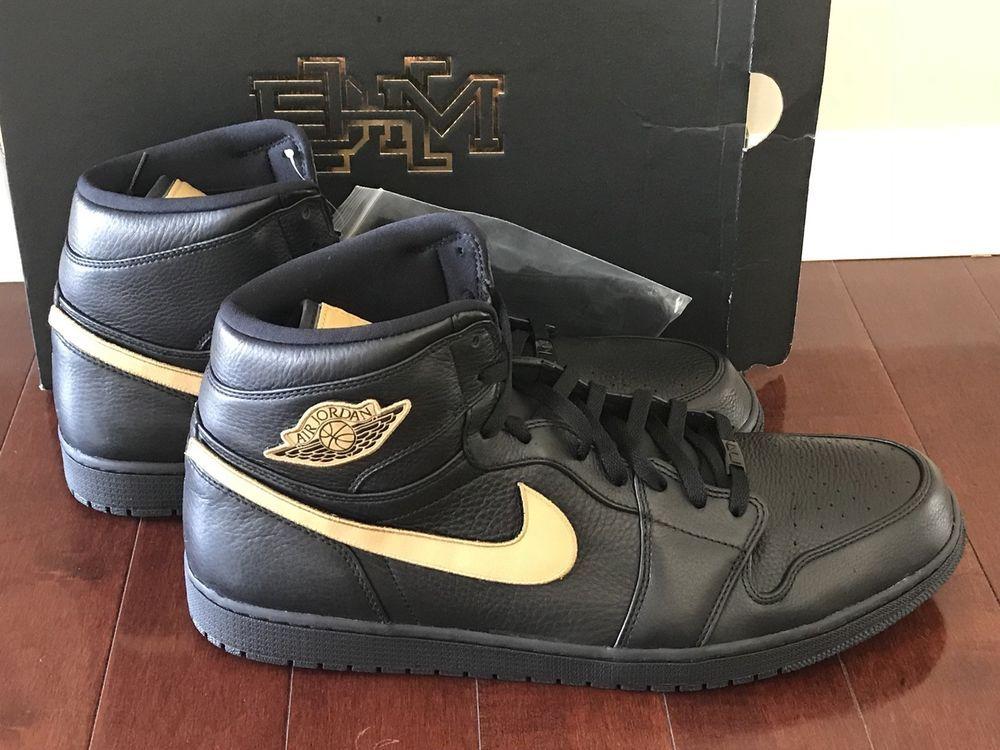 4e4bf5e85cbd0a Air Jordan 1 Retro High Bhm 908656-001 Black Metallic Gold New Men s ...