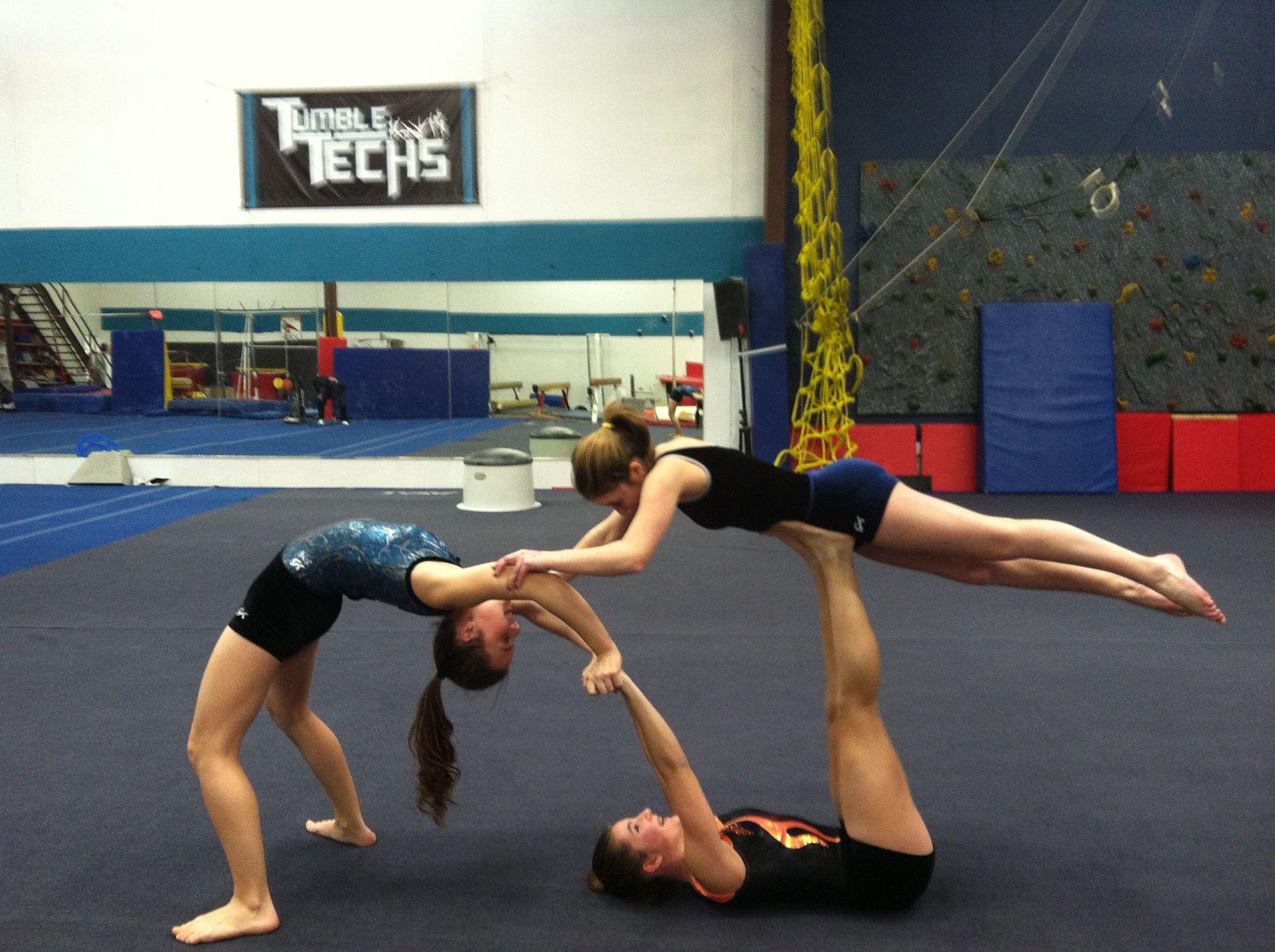 Gymnastics Poses Acrobatic Three Person Yoga