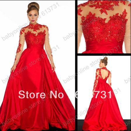 2014 Long Sleeves Prom Dresses Red Lace Applique A line Taffeta ...