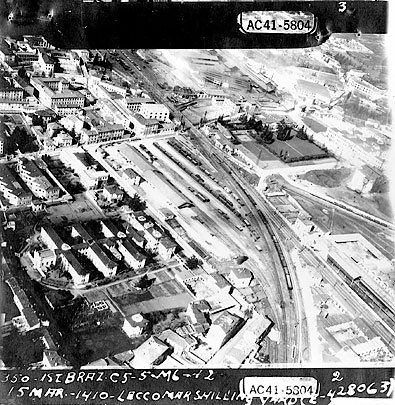 The Lecco's marshalling yard, Lombardia, Northern Italy, under attack of 1st Grupo de Caça of Brazilian Air Force, 15 March 1945. Photo taken by Thunderbolt aircraft C5 during the Mission 275.