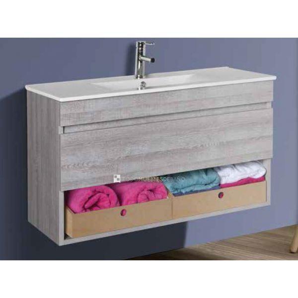 Detalle mueble de baño Luk 25 en acabado pino sacramento de 1 cajón ...