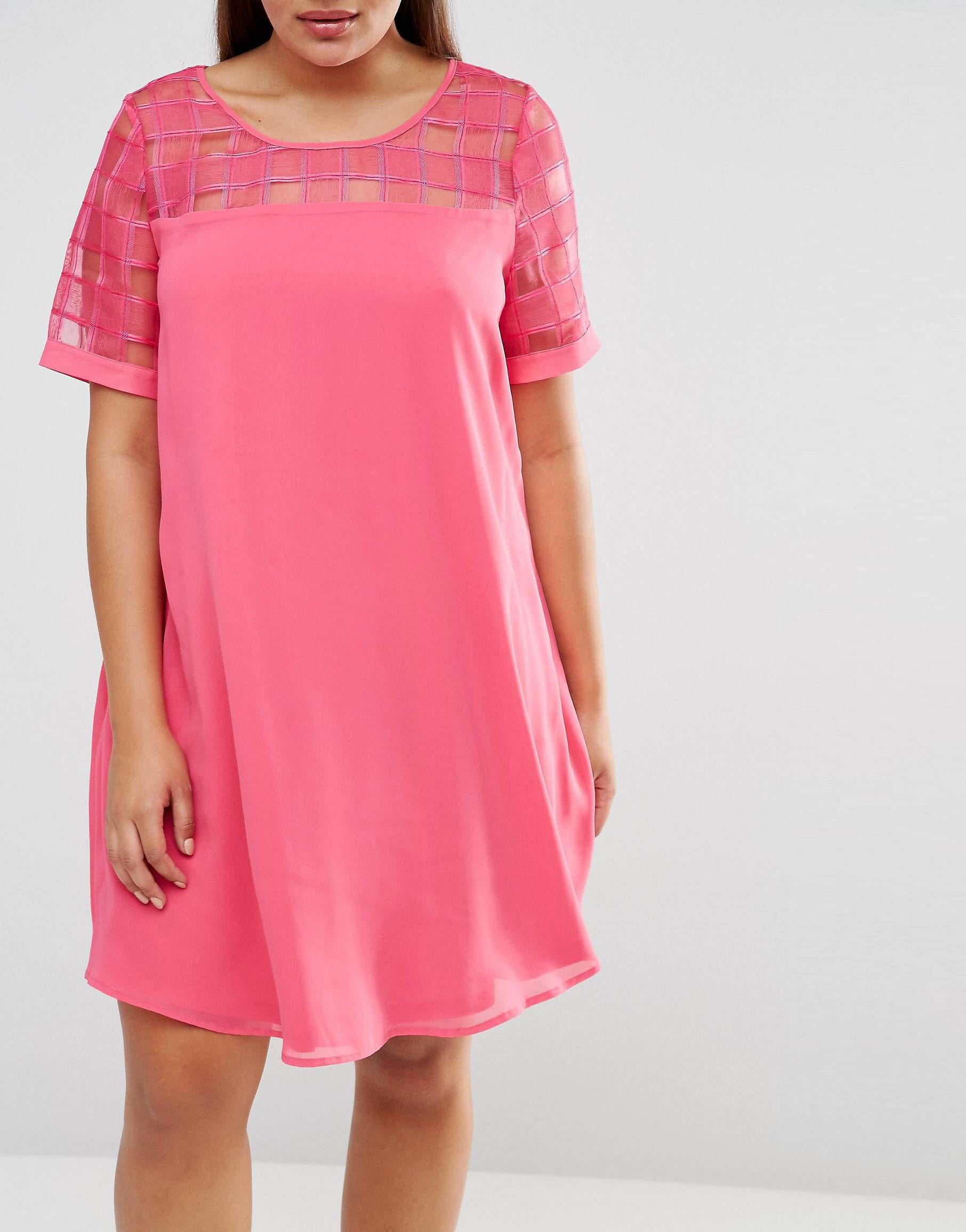 Vestido recto con aplicación de malla de Lovedrobe | Vestido recto ...