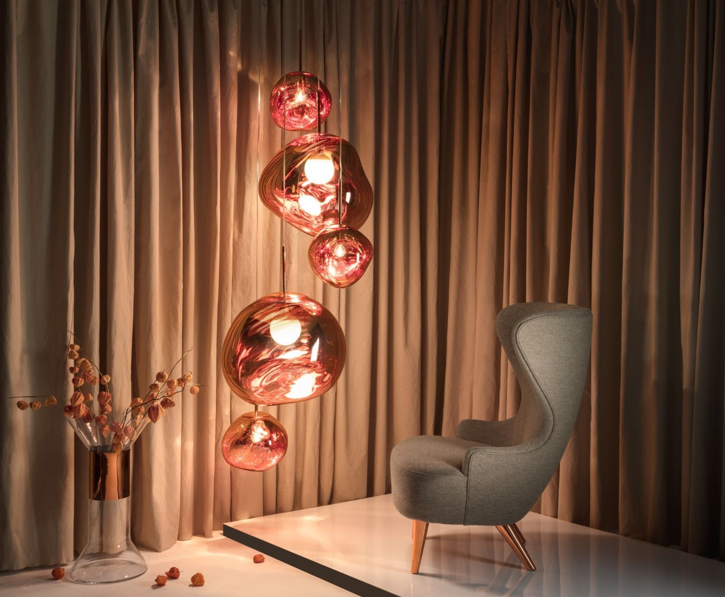 Tom Dixon Melt Gold Large Round Pendant System Multi Light Pendant Tom Dixon Melt Tom Dixon