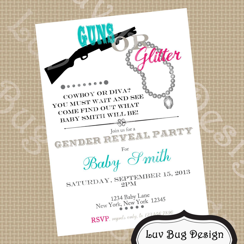 GENDER REVEAL Guns or Glitter Themed Baby Shower by luvbugdesign, $14.00
