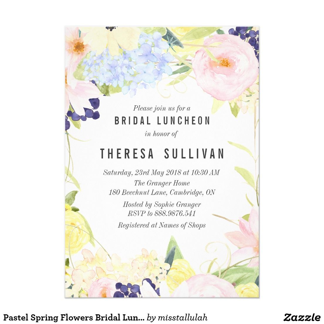 pastel spring flowers bridal luncheon invitation wedding bridal