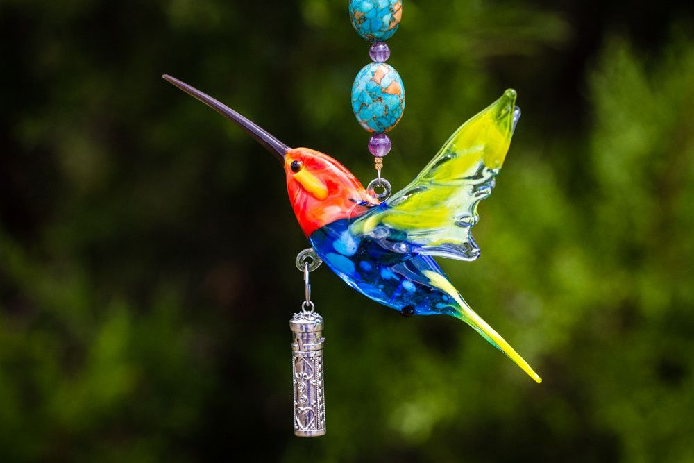 Ashes in Glass Art Glass Hummingbird with Silver