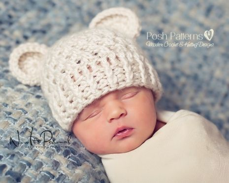 3ce8d801260 This crochet pattern is for a gorgeous and elegant baby bear beanie hat.  Includes all sizes from newborn to adult!