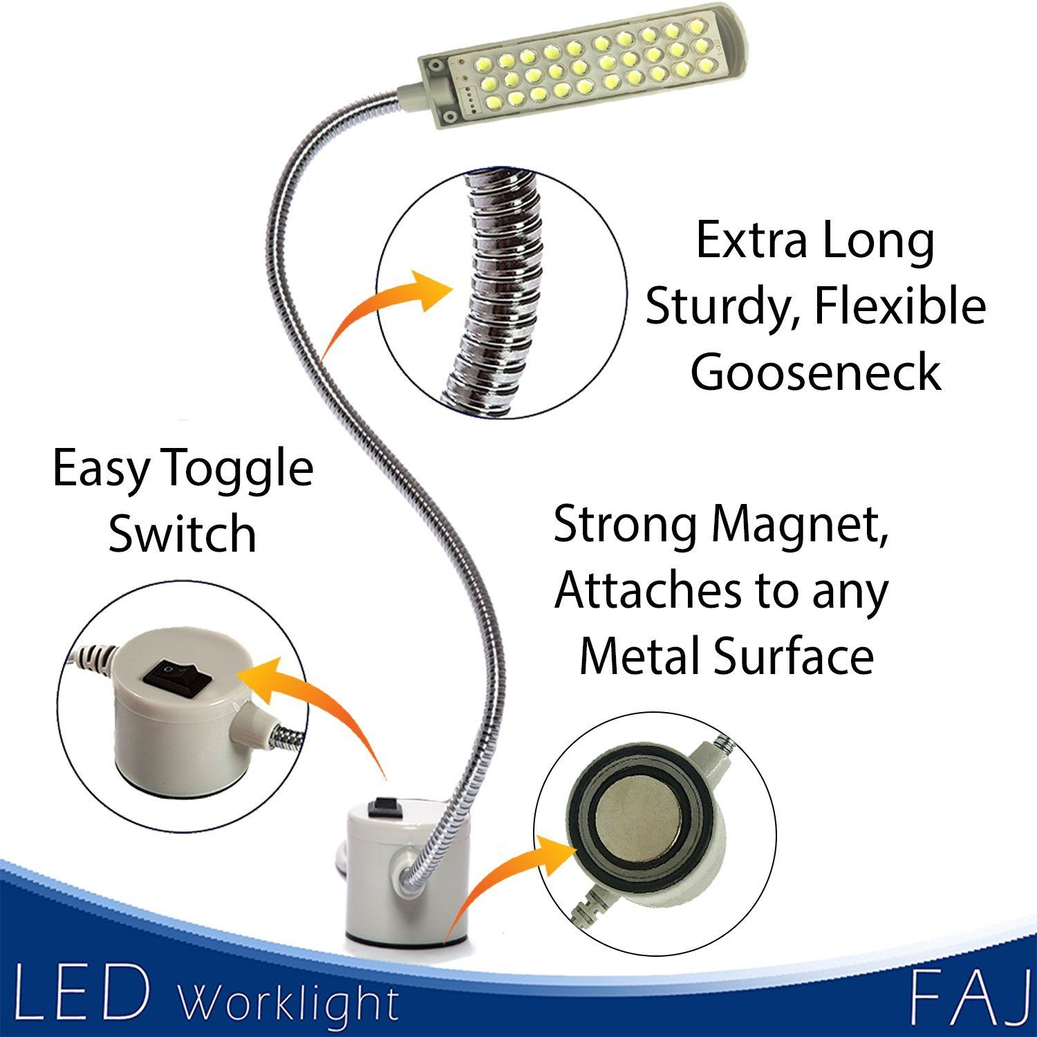 Faj Magnetic 12inches Extra Long Flexible Gooseneck Arm Multifunctional Worklight Bright Daylight Leds Sewing Machin Craft Lights Woodworking Tools Flexibility