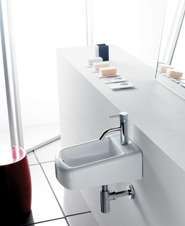 Lavabo mini space de porcelana y suspendido con for Embellecedor rebosadero lavabo