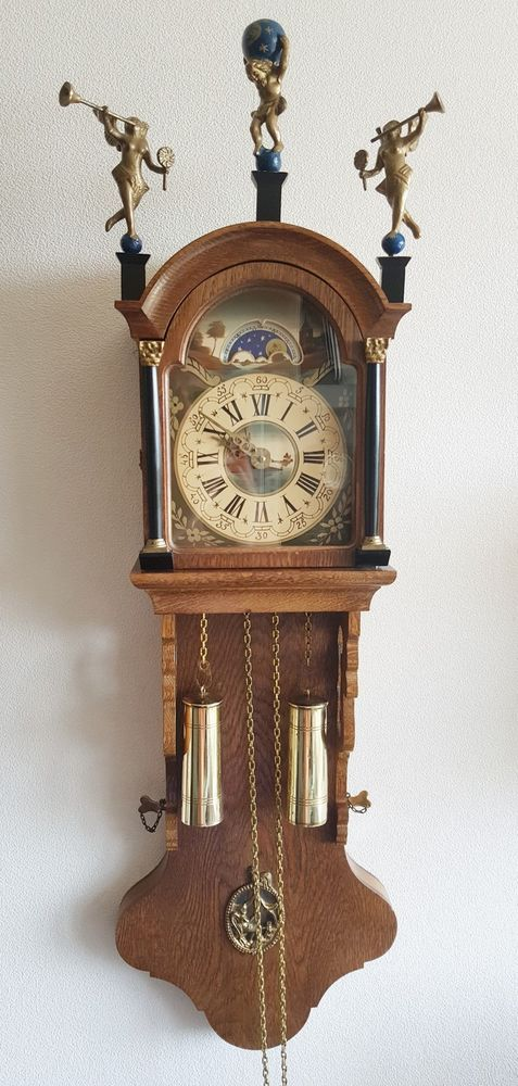 Large Vintage Dutch Wall Clock Friese Tailed 1972 Oak 8 Day Moon Dial Hermle Wall Clock Clock Vintage Clock