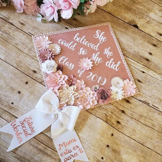 Graduation Cap Toppers/ Flower graduation cap/ Glitter Graduation Cap/ Customizable/graduation bow