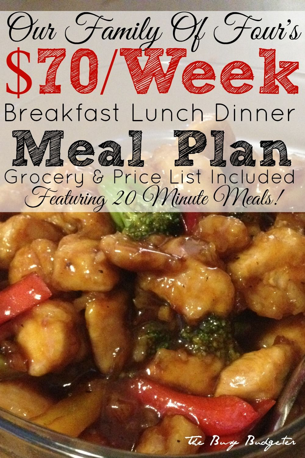 Our 70 Week Meal Plan For A Family Of Four Of 20 Minute Meals Frugal Meals Meals Meal Planning