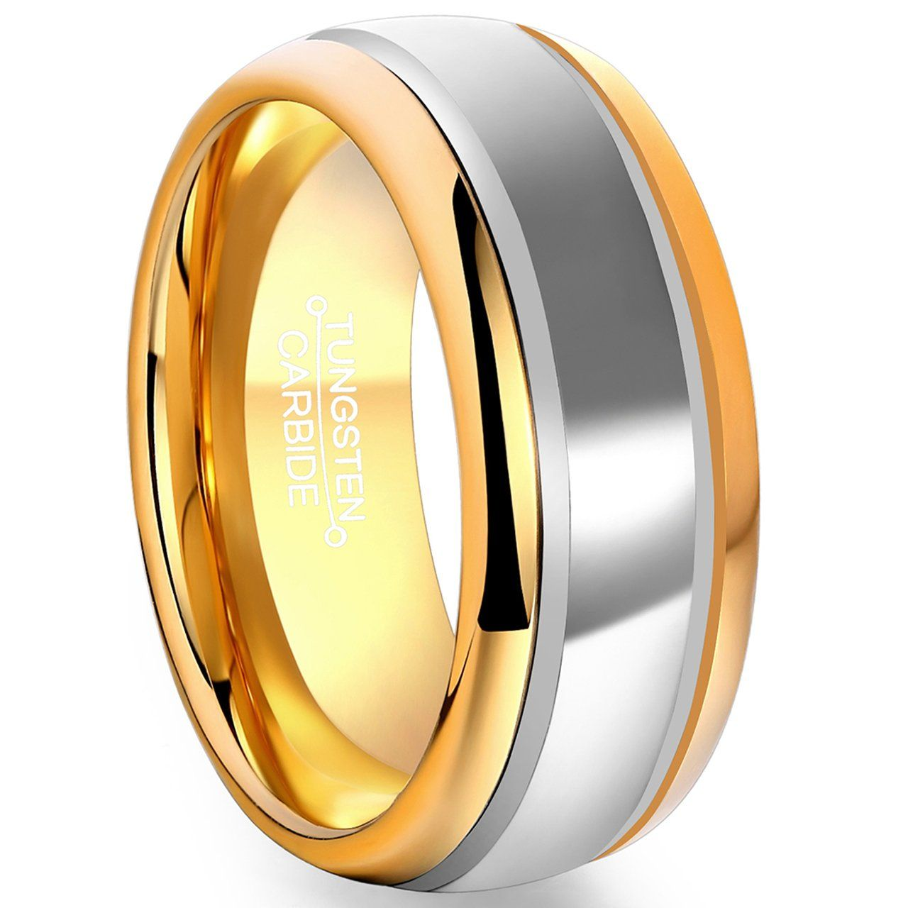 Yellow Gold Plated Line Men/'s polished Tungsten Carbide Wedding Band Mens Tungsten Ring Gold Tungsten ring His Tungsten Band 8mm