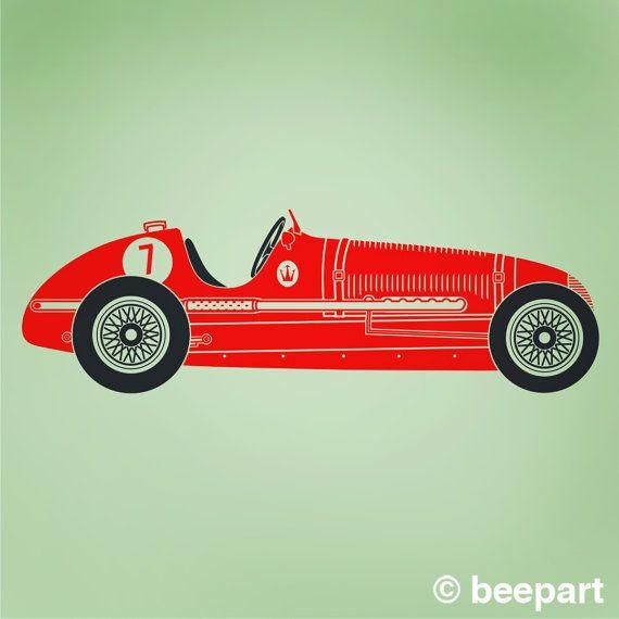 Vintage Race Car Wall Decal Maserati Art Car Sticker Grand Etsy Custom Vinyl Wall Decals Custom Car Decals Vinyl Wall Decals