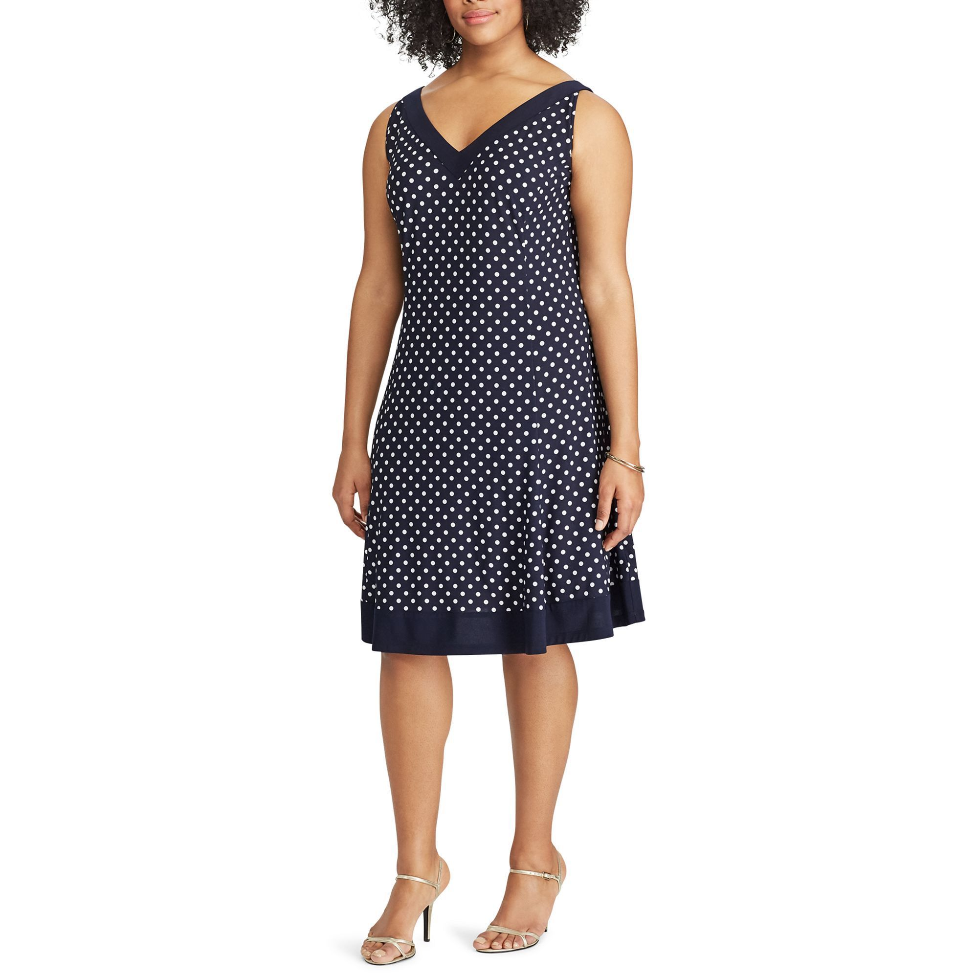 Plus Size Chaps Polka-Dot Fit & Flare Dress, Women's, Size: 20