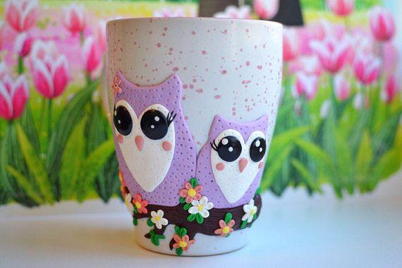 Mug cute Owls OOAK gift mothers day customized mug