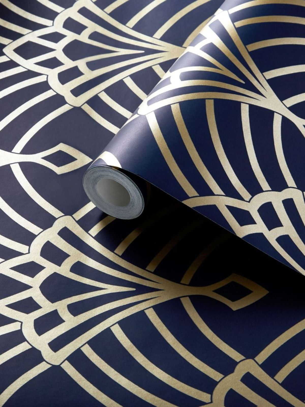 Waldorf Art Deco Wallpaper Navy / Gold World of Wallpaper