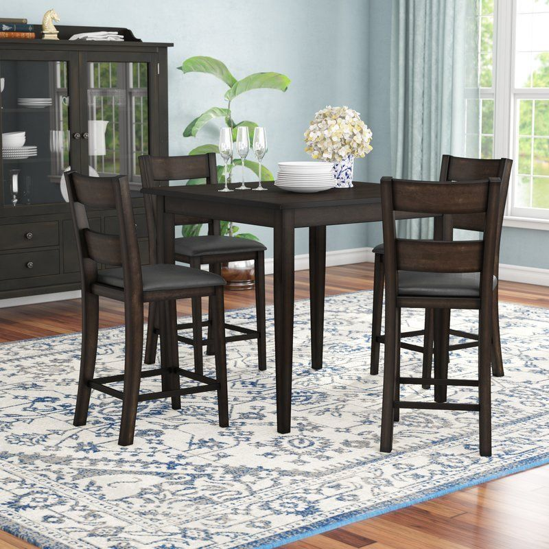 4 Seater Dining Set Black Finish Wood Square Table Padded