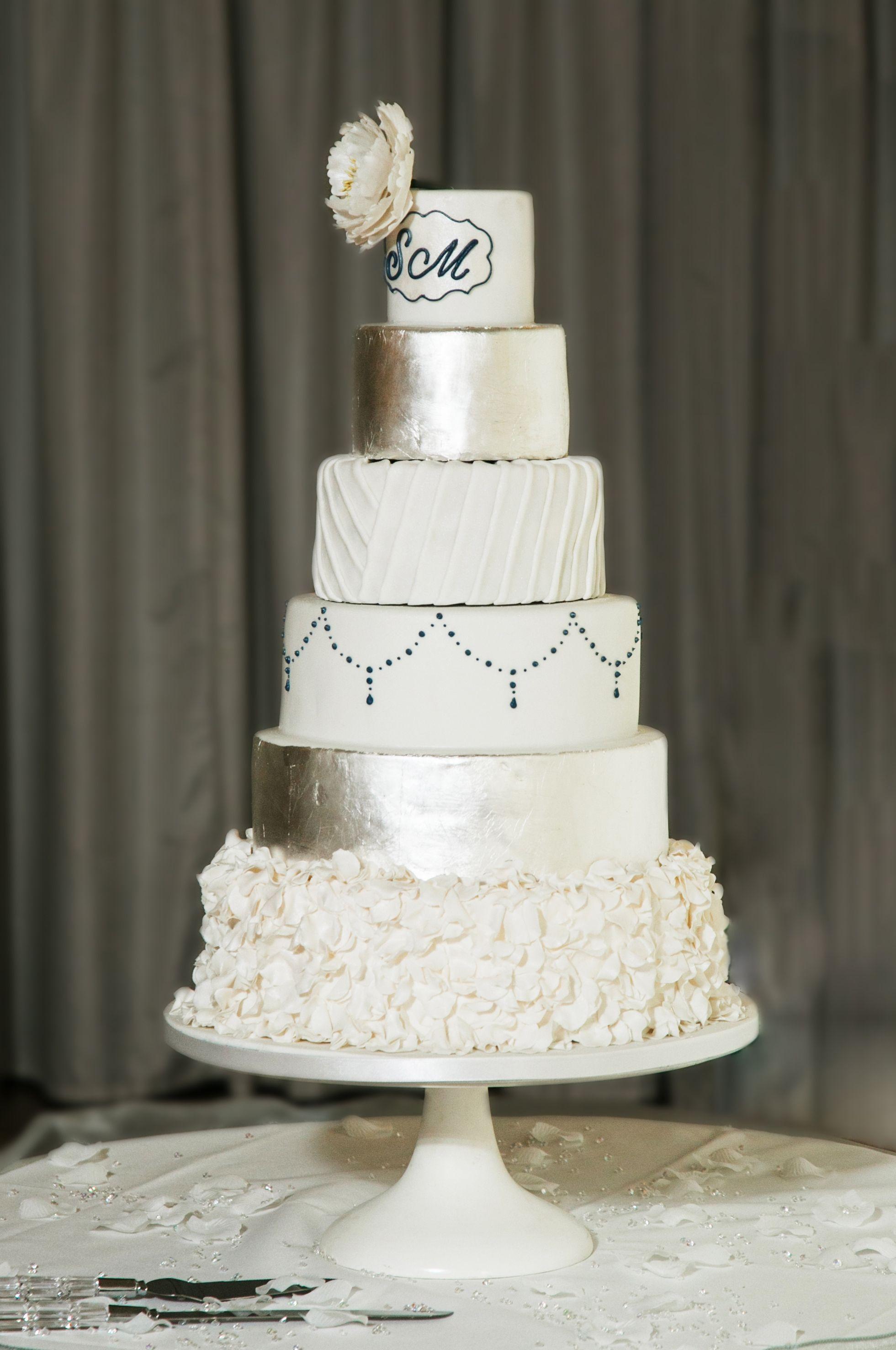 6 Tier Silver Leaf Ruffle Monogram White Navy Blue Wedding Cake