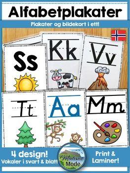 Denne Pakken Kan Brukes Bde Som Plakater I Klasserommet Og Som Bokstavkort Skriv Ut I A4 Eller A3 For Lage Pl Preschool Activities Norwegian Words Word Wall