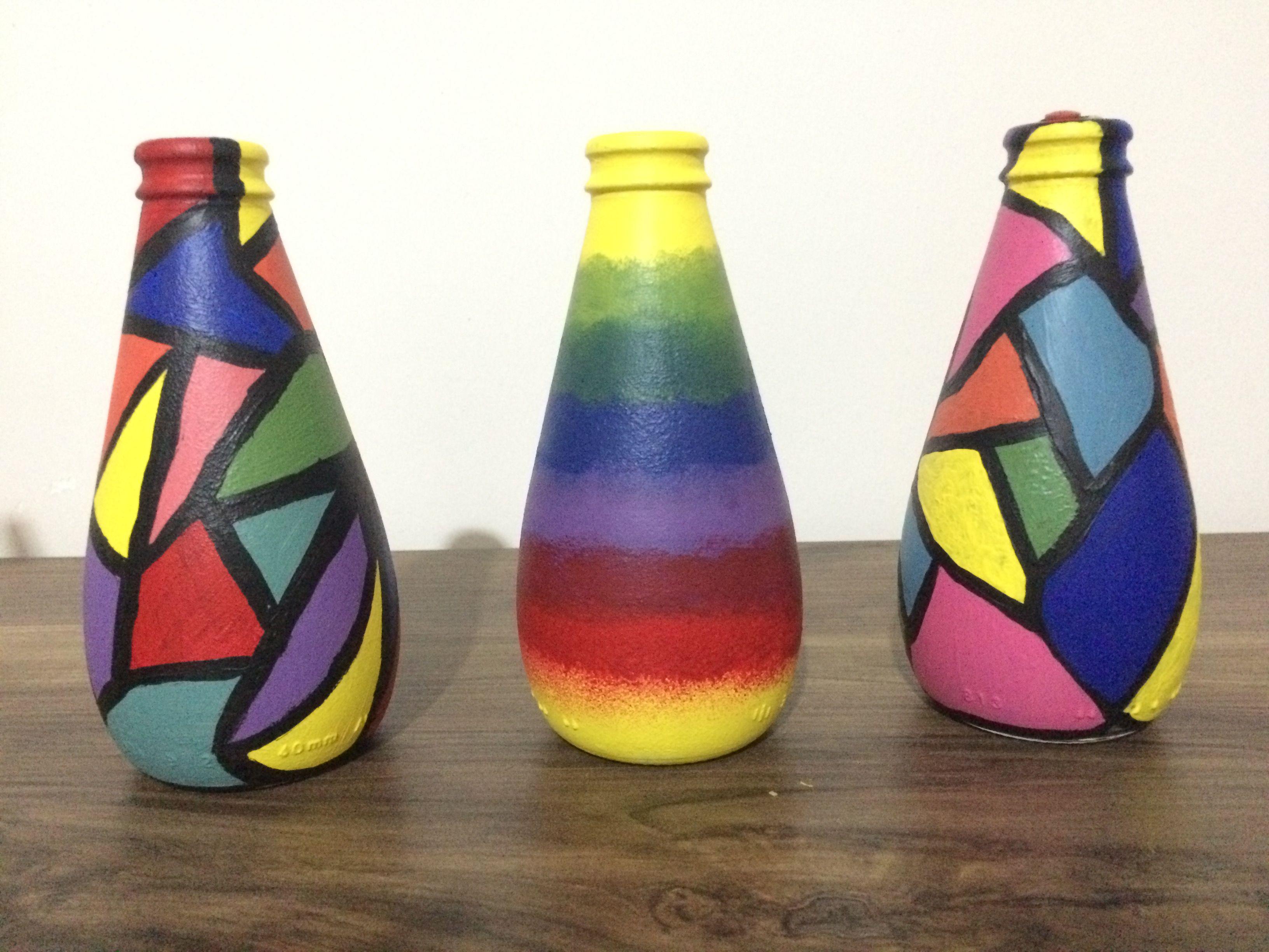 Vazo Sise Boyama Art Artcraft Avsar Soda Sisesi Glass Painting Kavanoz Elisi Kavanoz Projeleri Sise