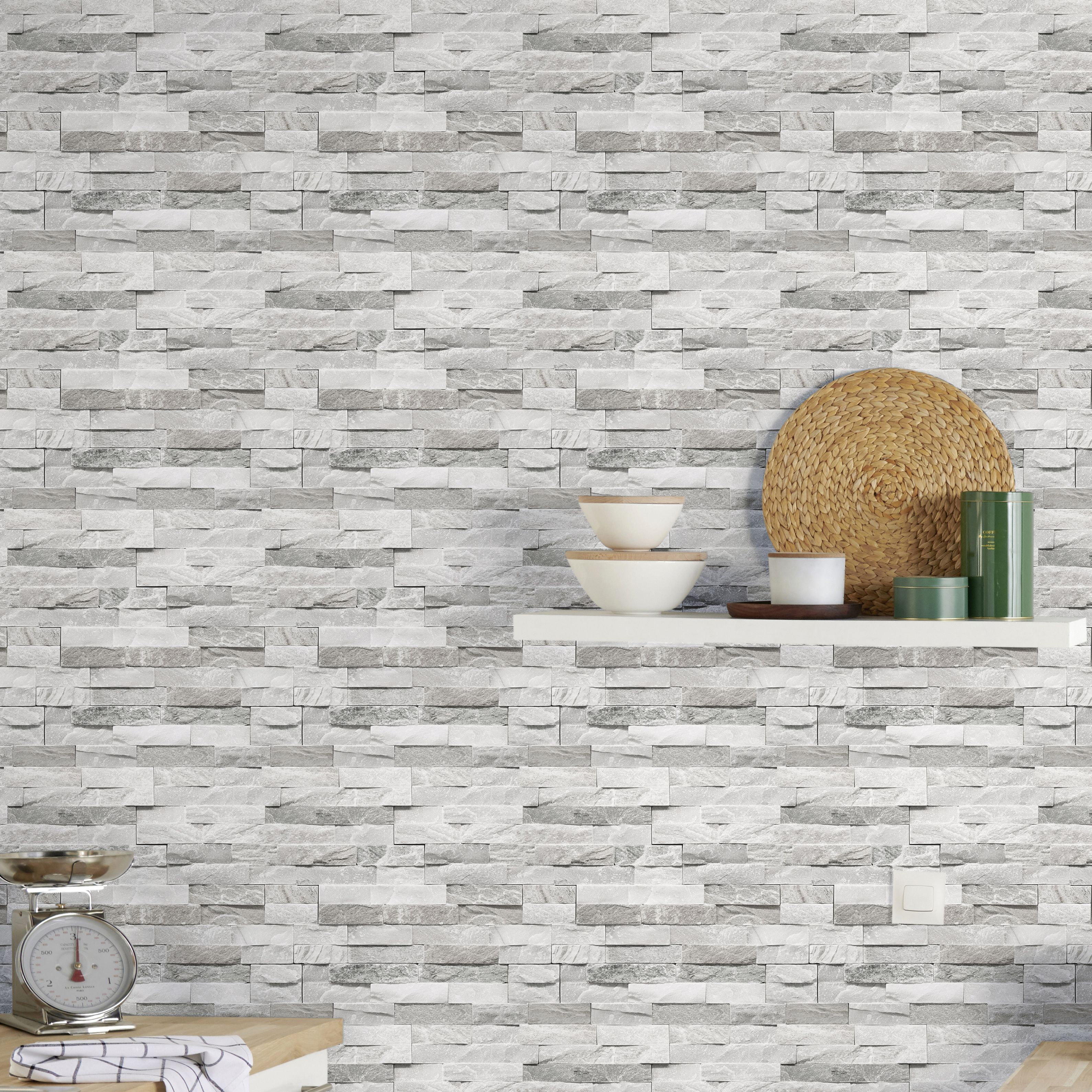 Goodhome Jori Grey White Brick Wallpaper Brick Wallpaper Living Room Grey And White Wallpaper Brick Texture