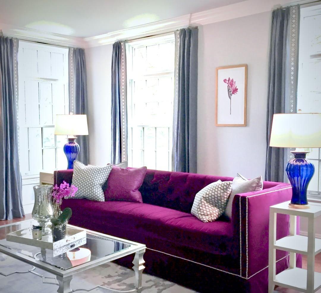Via Christinekohutinteriors On Instagram Tufted Velvet Sofa Raspberry Pink Fuchsia Bold Col Purple Living Room Living Room Decor Colors Living Room Colors #purple #couches #living #room