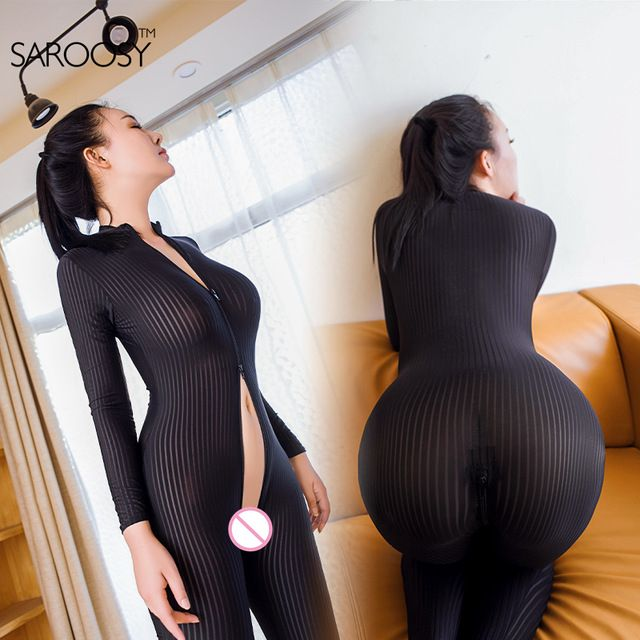 be0e80fe51 2017 New Open Crotch Black Striped Sheer Bodystocking Bodysuit Sexy Lingerie  for Women Smooth Fiber Double Zipper Long Sleeves