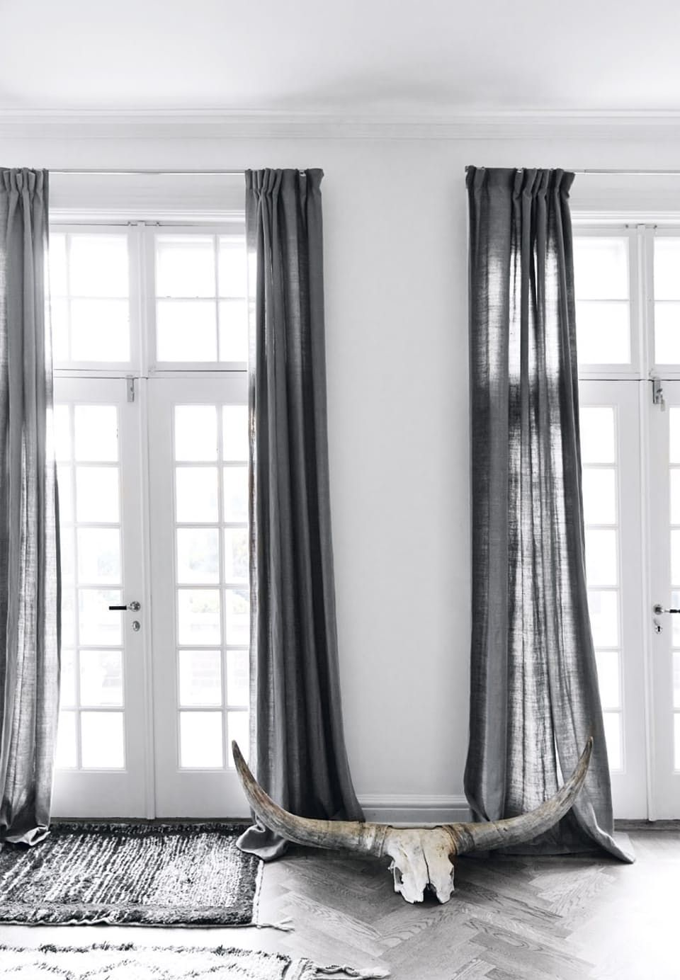 Curtains In Linen In Grey All The Way Down To The Floor