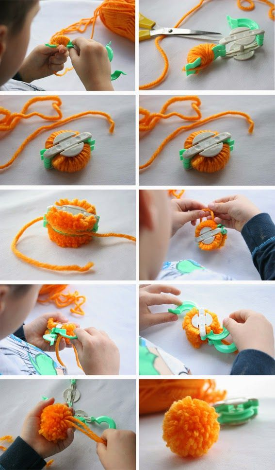 Como hacer mu ecos con pompones de lana t cnicas para - Como hacer pompones ...