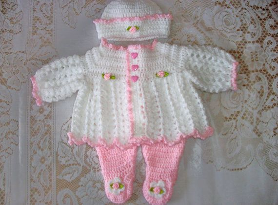 Crochet Baby Girl Sweater Set Layette And Leggings Perfect Take Home ...