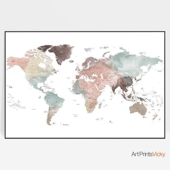 Detailed world map, World map poster, World map wall art ...