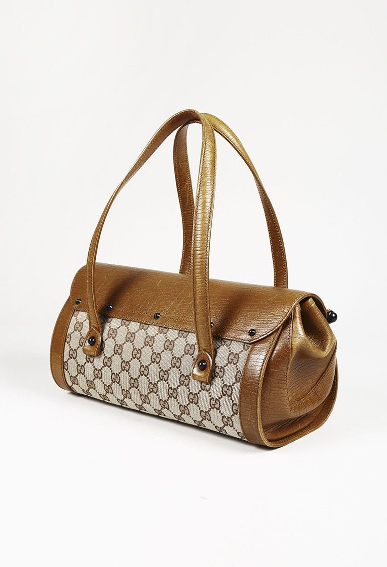11105c2f2c016 Gucci Brown Canvas   Leather