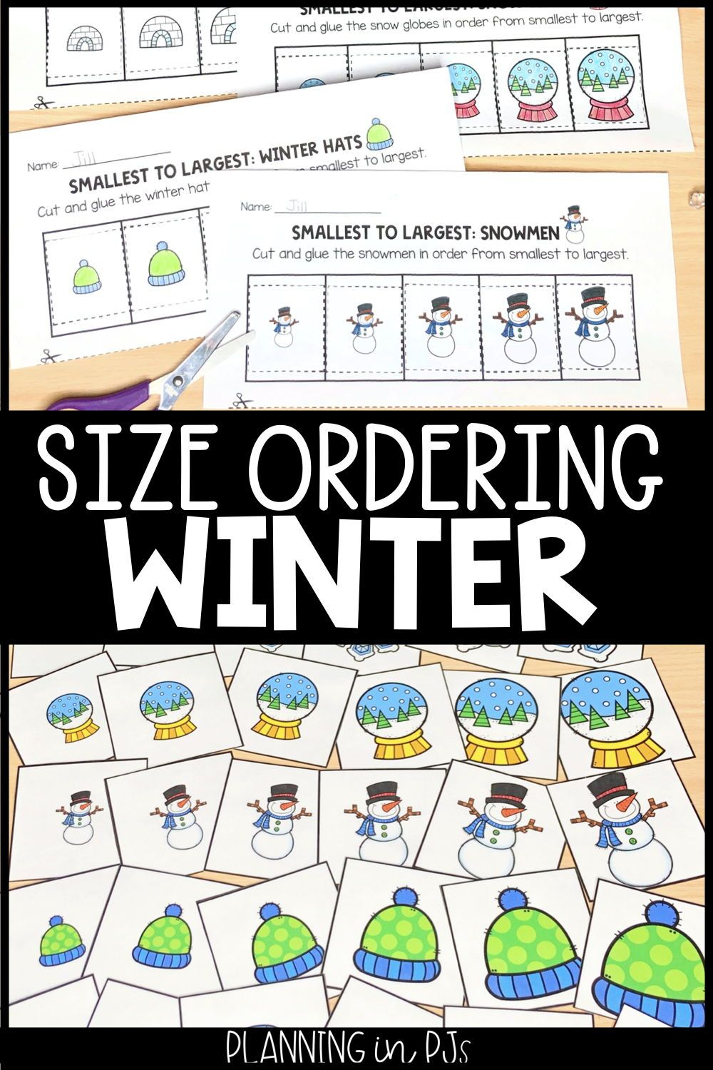 Winter Size Ordering Bundle From Smallest To Largest Winter Math Winter Theme Elementary Math