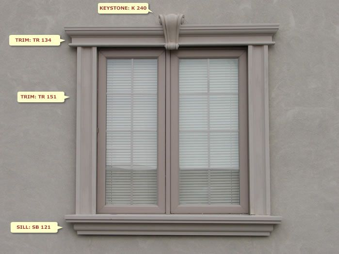 Window Design: W52  Dream Homes  Exterior window molding, Window molding trim, Window design