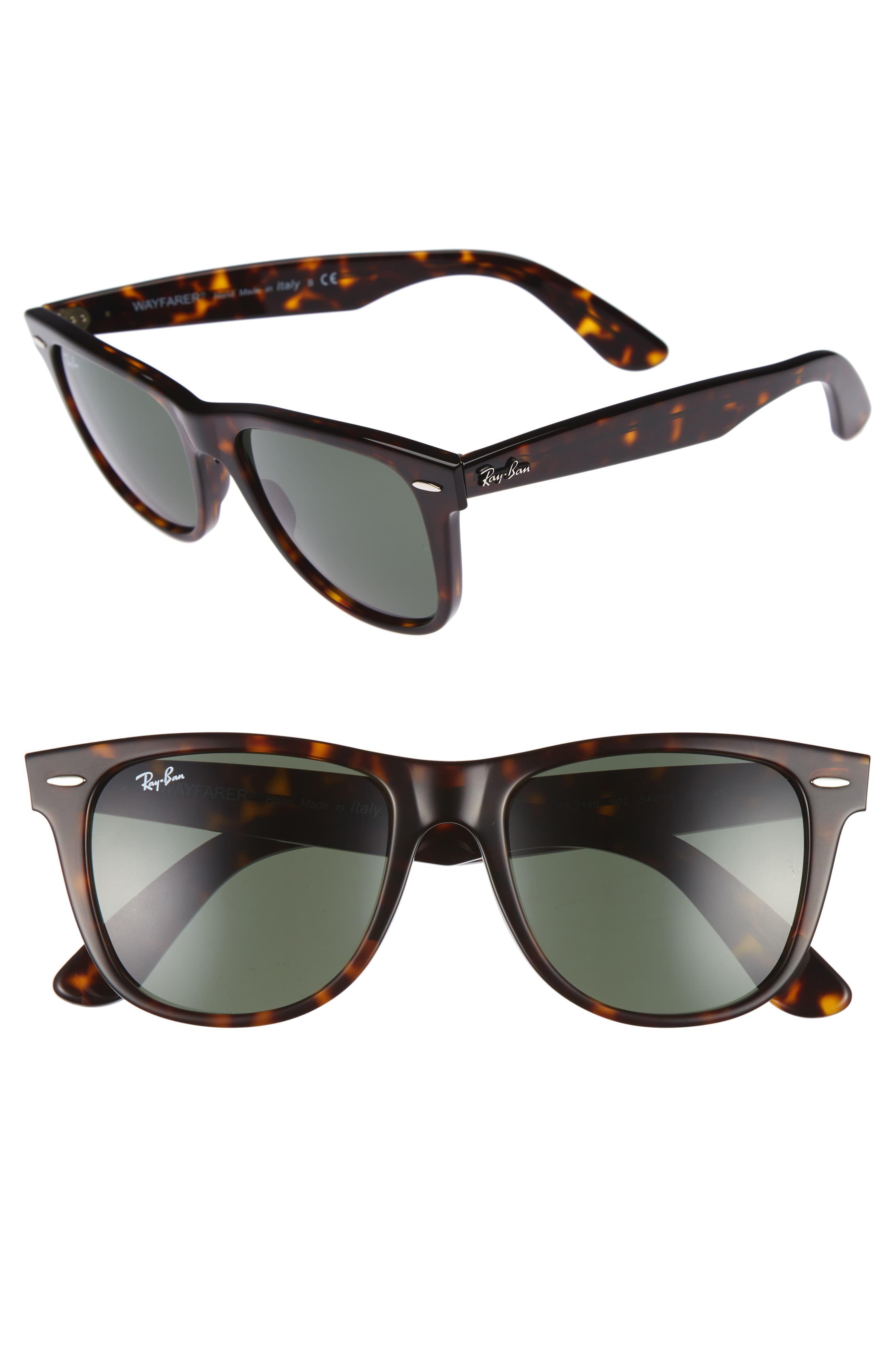 Men S Ray Ban Classic Wayfarer 54mm Sunglasses Dark Tortoise Green Rayban Sunglasses Mens Mens Sunglasses Fishing Sunglasses