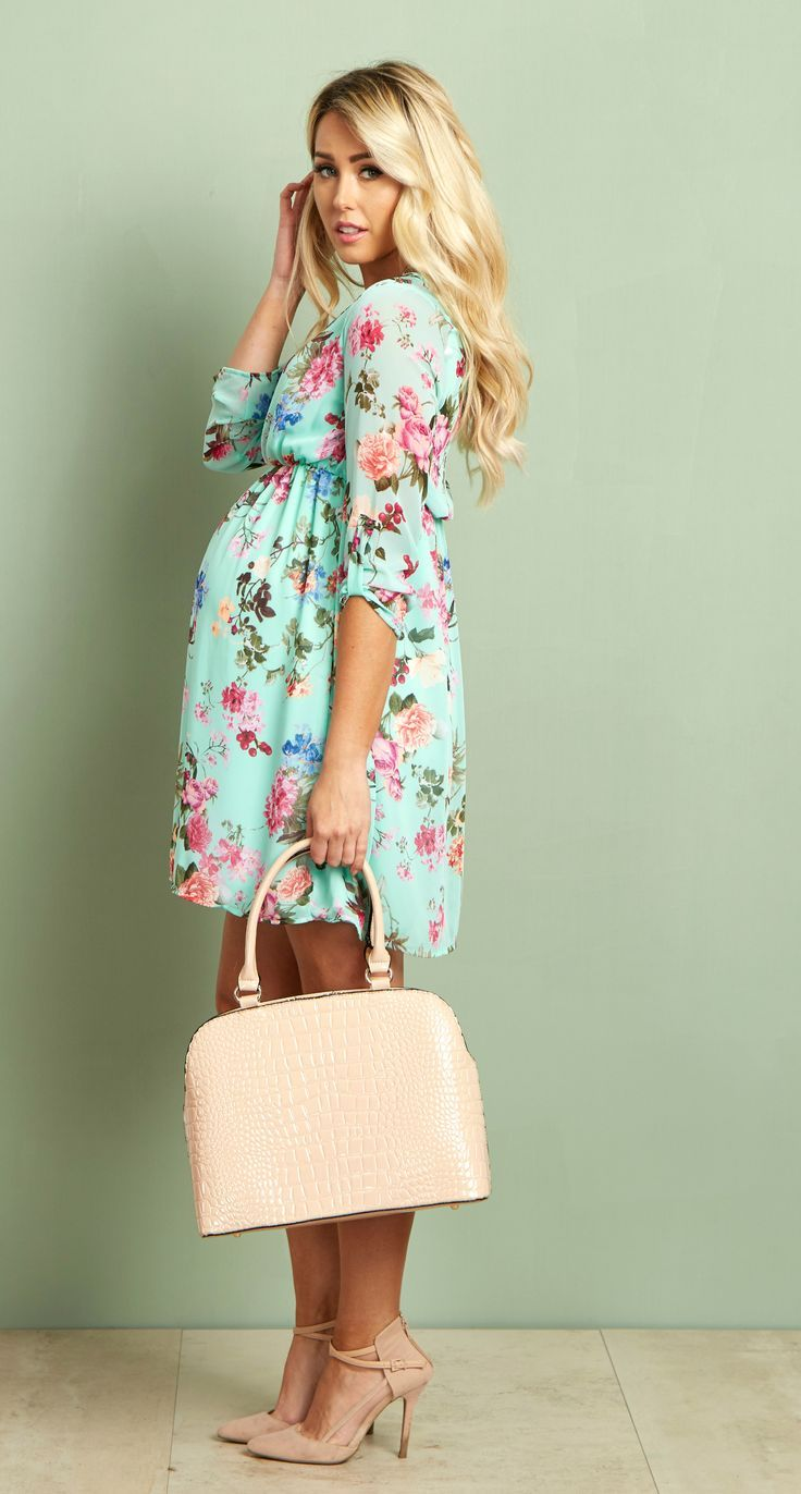 Maternity dresses to wear to a wedding  Mint Floral Chiffon Maternity Dress  Floral chiffon Maternity