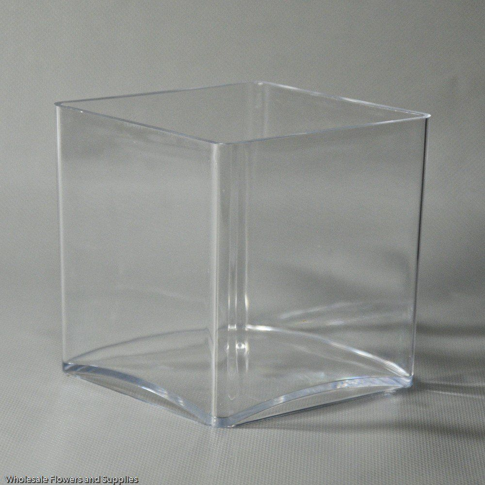 4\  x 4\  Square Plastic Cube Vase - Wholesale Flowers and Supplies & 4\