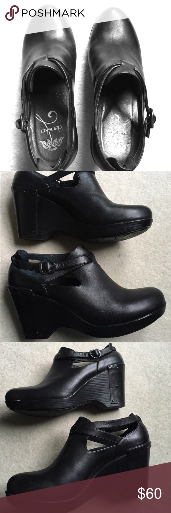 b4a472cda2 Dansko Franka wedge heels Never worn heels. Black leather. Euro size is 41  but I wear a 9 1/2 typically. Dansko Shoes Wedges