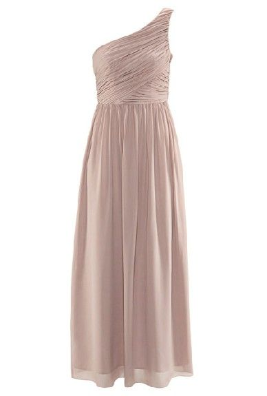 Nude One-Shoulder Pleated Long Evening Dress