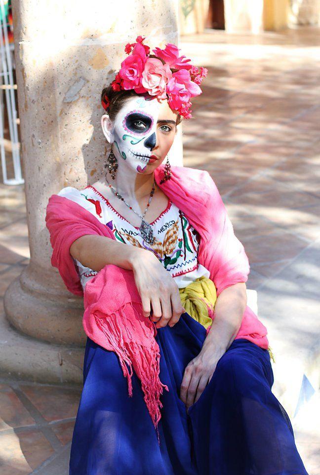Resultado de imagen para maquillaje catrina frida kahlo