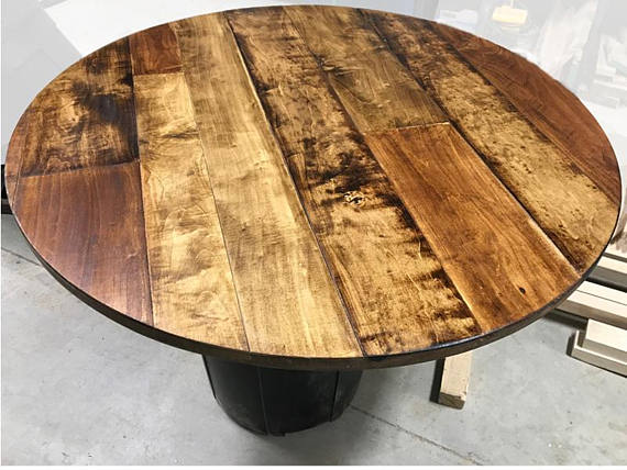 1 Round Table Top Maple Plank Table Top Rustic Wood Etsy Plank Table Natural Wood Table Top Barrel Table