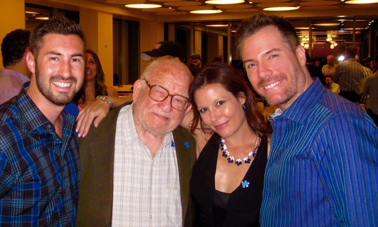 Poker Tournament celebrity host Ed Asner and actor Kevin Strom with Kamus + Keller Marketing Director Kristen.  #Chipin4autism #autismspeaks