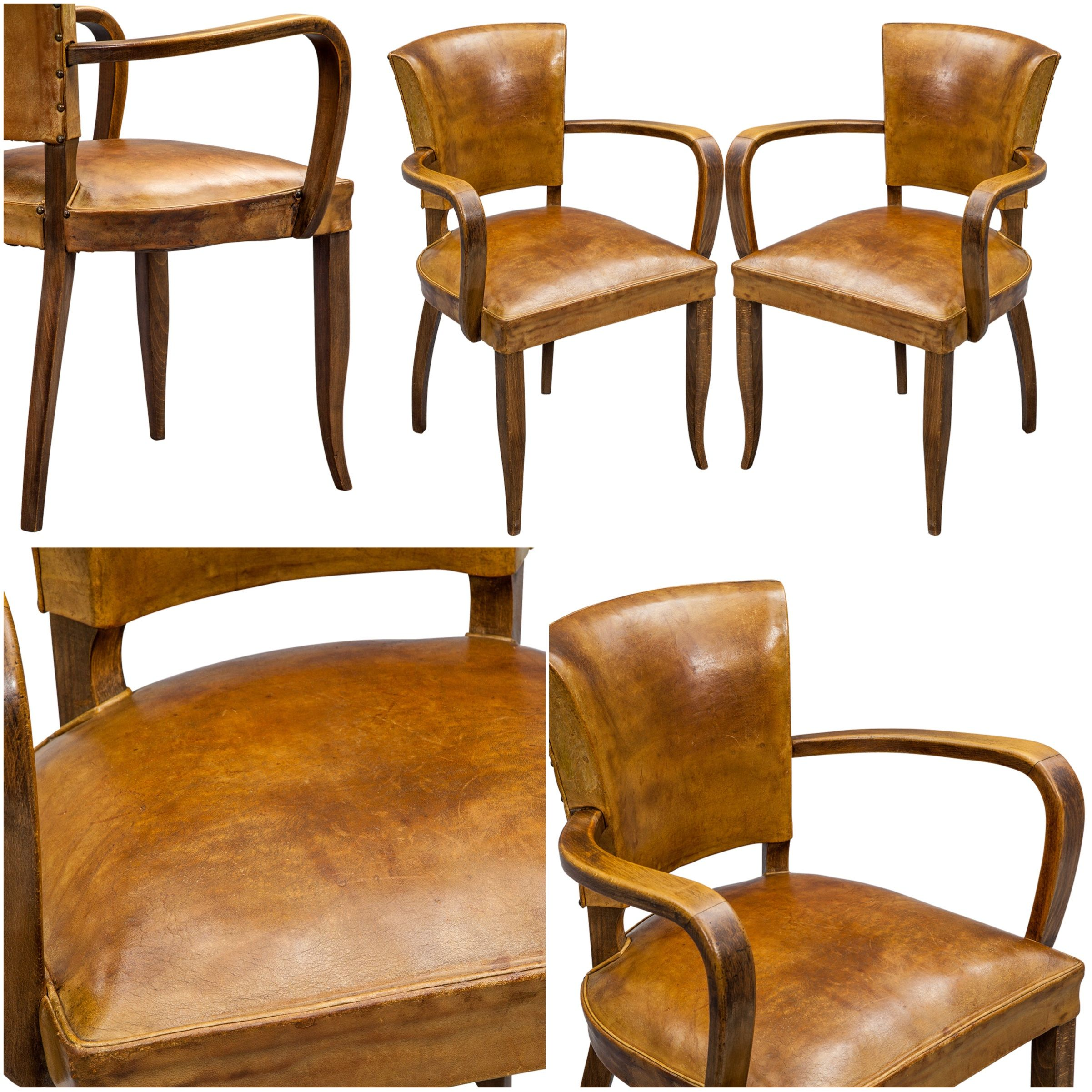 Pair Of French Leather Bridge Chairs Fauteuil Fauteuil Bridge Deco